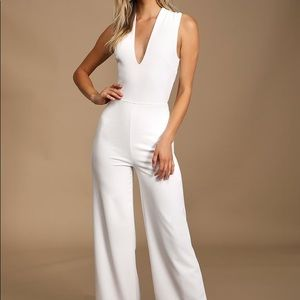Lulus Thinking Out Loud White Backless Jumpsuit